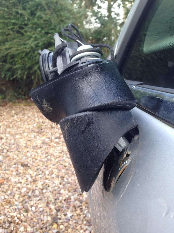 The damage to my wing mirror